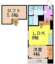 名古屋市営桜通線 瑞穂運動場西駅 徒歩9分の賃貸アパート 2階1SLDKの間取り