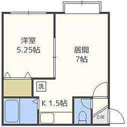 北海道札幌市北区北二十九条西13丁目の賃貸アパートの間取り