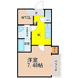 愛知県名古屋市中川区柳瀬町3丁目の賃貸アパートの間取り