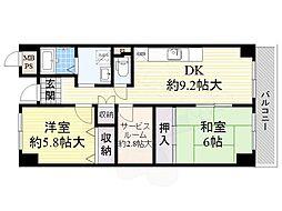 近鉄奈良線 河内花園駅 徒歩9分の賃貸マンション 8階2SDKの間取り