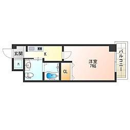 阪堺電気軌道上町線 阿倍野駅 徒歩2分の賃貸マンション 2階1Kの間取り