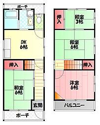 大阪モノレール 大日駅 徒歩18分の賃貸一戸建て 1階4DKの間取り