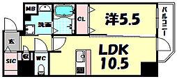 プレサンス堺筋本町駅前シェル 7階1LDKの間取り