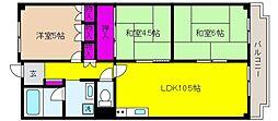 兵庫県神戸市東灘区魚崎西町2丁目の賃貸マンションの間取り