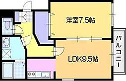 ファーストレジデンスはんのき公園前A棟 3階1LDKの間取り