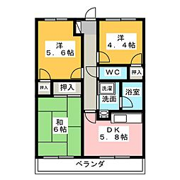 フロントヒルズIII[2階]の間取り