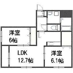 A BOND菊水[3階]の間取り