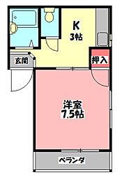 Kハウス高瀬 3階1Kの間取り