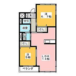 ラ・フェリオW[1階]の間取り