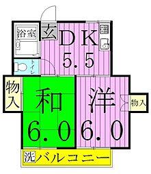 埼玉県八潮市中央1丁目の賃貸アパートの間取り