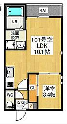 愛知県名古屋市南区明治1の賃貸アパートの間取り