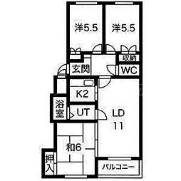 北海道札幌市東区北二十三条東12丁目の賃貸マンションの間取り