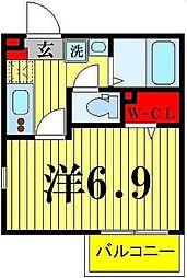 ライフタウン西新井 3階1Kの間取り