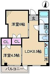 東京都北区王子5丁目の賃貸マンションの間取り