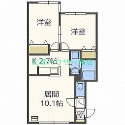 北海道札幌市東区北三十一条東6丁目の賃貸アパートの間取り