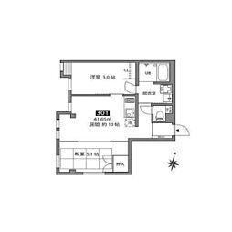 東急世田谷線 松原駅 徒歩5分の賃貸マンション 3階2LDKの間取り