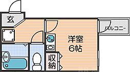 南海線 新今宮駅 徒歩3分の賃貸マンション 2階ワンルームの間取り