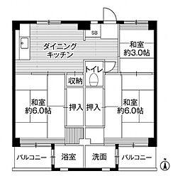 ビレッジハウス小比企 6号棟[3階]の間取り