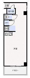 ステュディオ虎ノ門 6階ワンルームの間取り