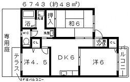 オセアンII(オセアンドゥー)[202号室号室]の間取り