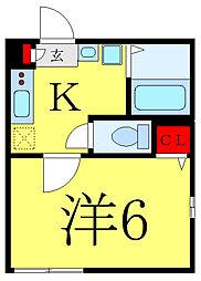 都営三田線 西巣鴨駅 徒歩7分の賃貸マンション 2階1Kの間取り