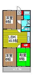 埼玉県川口市長蔵2丁目の賃貸アパートの間取り