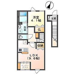 袖ケ浦市奈良輪新築アパート 2階1LDKの間取り