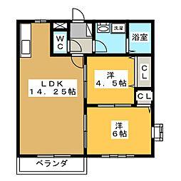 サンパルコ静香I[2階]の間取り