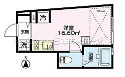 東急大井町線 荏原町駅 徒歩3分の賃貸アパート 1階ワンルームの間取り