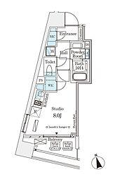 パークナードフィット南青山Vista 9階1Kの間取り