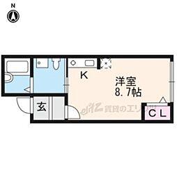 京阪本線 藤森駅 徒歩8分の賃貸アパート 1階ワンルームの間取り