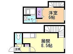 ジュネス栄通 2階1LDKの間取り