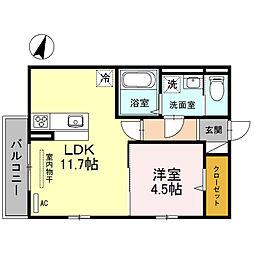 南海高野線 狭山駅 徒歩30分の賃貸アパート 2階1LDKの間取り