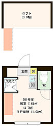 西武新宿線 野方駅 徒歩6分の賃貸アパート 2階ワンルームの間取り