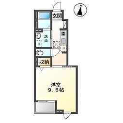 袖ケ浦市奈良輪890番新築アパート 1階1Kの間取り