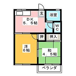 タウニィ辻久留[2階]の間取り