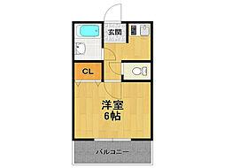 兵庫県伊丹市稲野町4丁目の賃貸アパートの間取り