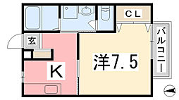 兵庫県姫路市広畑区本町1丁目の賃貸アパートの間取り