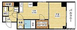 ノルデンタワー新大阪アネックス 12階1LDKの間取り