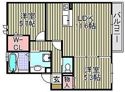 セジュールK[203号室]の間取り