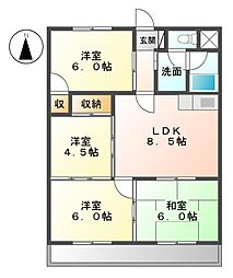 愛知県名古屋市中川区上脇町1丁目の賃貸マンションの間取り