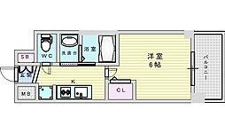 Osaka Metro御堂筋線 西中島南方駅 徒歩9分の賃貸マンション 5階1Kの間取り