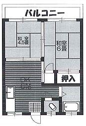蒲田山本マンション bt[501kk号室]の間取り