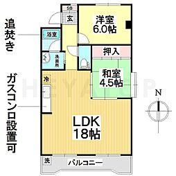 愛知県名古屋市瑞穂区田辺通6丁目の賃貸マンションの間取り