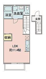 東京都八王子市中野山王3丁目の賃貸アパートの間取り