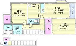 JR東北本線 陸前山王駅 徒歩9分の賃貸アパート 2階2LDKの間取り