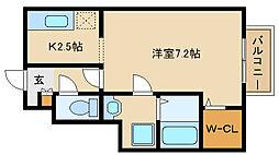 兵庫県尼崎市富松町3丁目の賃貸アパートの間取り