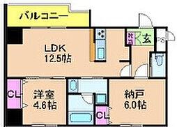 大阪府大阪市北区与力町の賃貸マンションの間取り