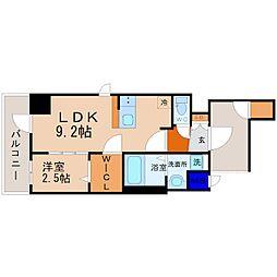 JR中央本線 鶴舞駅 徒歩9分の賃貸マンション 9階1LDKの間取り