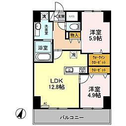 (仮)越谷プロジェクト 10階2LDKの間取り